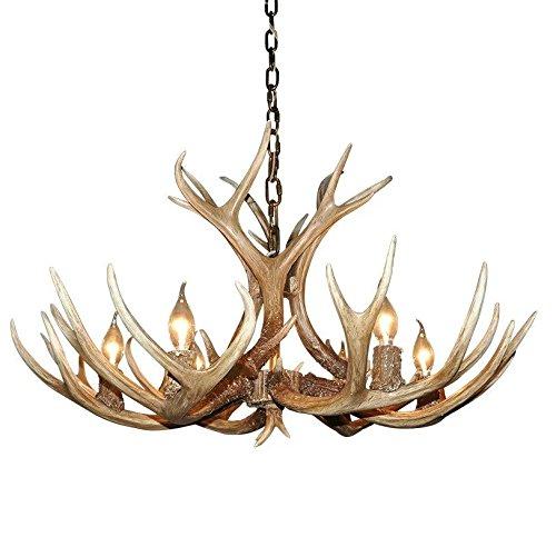 EFFORTINC Antlers vintage Style résine 6 lustres lumineux, lustres en bois rond de campagne américaine, Salon, Bar, Café, Salle à manger lustres corne de cerf