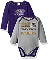 NFL Children Boy's 2 Pack Long Sleeve Bodysuit, Purple, 3-6 Months