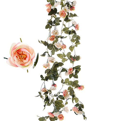 Felice Arts 2pcs Fake Rose Vine Artificial Flower Garland Green Leaf Hanging Vine Garland for Wedding Party Home Garden Wall Decoration-Champagne 7.2Ft