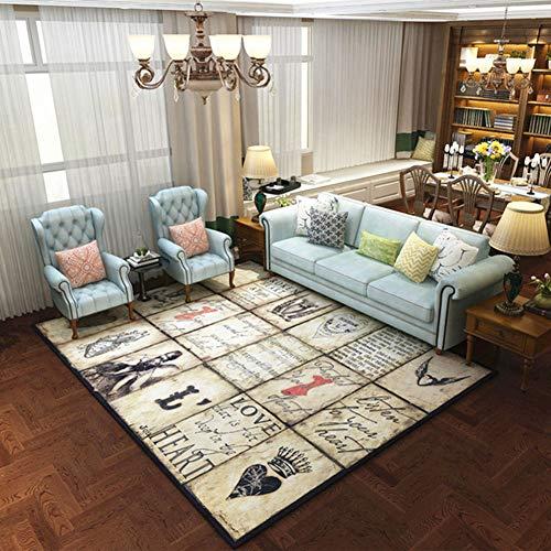 Alfombra de estilo europeo, suave al tacto, no se descolora, resistente a la decoloración, para sala de estar, mesa de café, sofá, 07, 160 x 230 cm