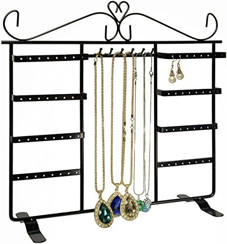 Joyero, soporte para joyas para 64 aretes y 8 ganchos para colgar collar, colgantes o cadenas
