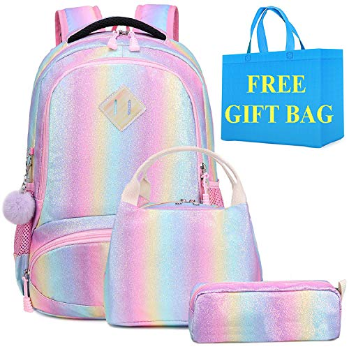 Mochila Escolar Niñas Colorida Mochila Arco Iris para Chica y Mujeres,3 en 1 Sets de Bolsas Escolares Infantiles + Bolsa del Almuerzo + Estuche - Adolescentes Mochila Girls Rainbow Glitter Backpack