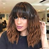 Nnzes Short Wavy Wig with Bangs for Women Shoulder Length Bob Curly Women's Charming Synthetic Wigs with Natural Wavy 14 Inches Black To Brown Heat Resistant Hair for Daily Use