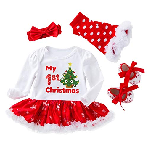 SoonerQuicker Christmas 4Pcs Toddler Baby Girls Impression De NoëL Ensemble Tenues Jupe Barboteuse Reborn Body Pull Koala Naissance Hiver VêTements Costume Chaussures Chaussettes Cheveux(Rouge,80)