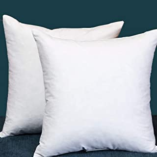 StarryBedding Set of 2, Throw Pillow Inserts, Decorative Cotton Fabric Pillow Insert, Filled with Down and Feather, 16 X 16 Inches, White