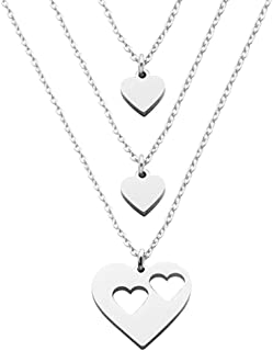 Beeshion Mother Daughter Necklace Set Stainless Steel Cut Out Heart Necklaces Mom and 1 2 3 Girls