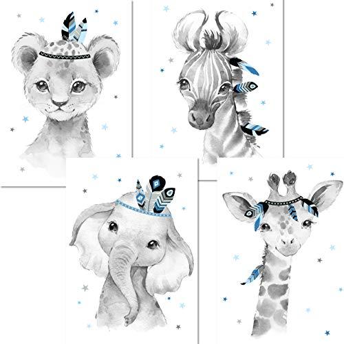 LALELU-Prints | A4 Bilder Kinderzimmer Deko Junge | Zauberhafte Indianer-Tiere Boho Feder blau | Poster Babyzimmer | 4er Set Kinderbilder (DIN A4 ohne Rahmen)