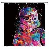 AMFD Star Wars Duschvorhang Badvorhang, 70 x 178 cm, Polyester, wasserdicht, schimmelresistent, waschbar, frei von PVC Chlor & chemischen Gerüchen, inklusive Haken 70 x 70 Inches Multi 8064