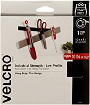 VELCRO Brand Industrial Fasteners Low Profile Thin Design   Professional Grade Heavy Duty Strength Holds up to 10 lbs on Smooth Surfaces   Indoor Outdoor Use, 10ft x 1in, Tape