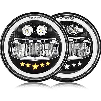DVISUV 7 inch Led Headlight Jeep Wrangler JK Headlights Led Motorcycle Headlight Hi/Low Beam, Amber & White DRL Round Sealed Beam Led Headlight for Jeep Wrangler JK TJ LJ CJ