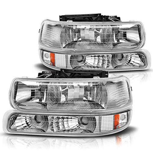 AUTOSAVER88 Headlight Assembly Compatible with 99-02 Chevy Silverado 1500 2500/01-02 Chevy Silverado 1500HD 2500HD 3500/00-06 Tahoe Suburban 1500 2500 Headlamp with Bumper Lights