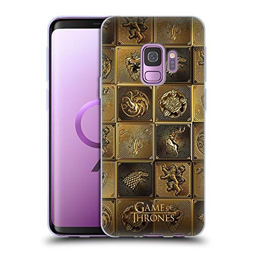 Head Case Designs Officially Licensed HBO Game of Thrones All Houses Golden Sigils Soft Gel Case Compatible with Samsung Galaxy S9