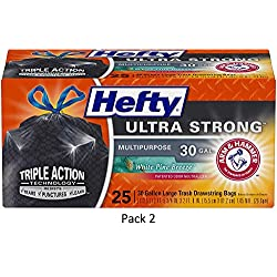 Hefty Ultra Strong Multipurpose Large Black Trash Bags –...