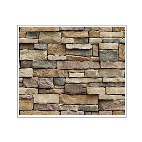 VORCOOL 3D Wall Paper Brick Stone Graceful Rustic Effect Self-adhesive Wall Sticker Home Decor 45x100cm (Rock)