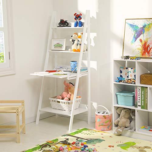 Itaar 4-Tier Ladder Shelf Bookcase with Drop-Down Desk, Modern Study Ladder Desk, Leaning Free Standing Wooden Frame Decor Bookshelf Storage Flower Shelf Plant Display Shelf for Home Office, White