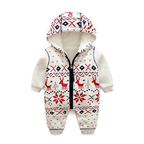 Bebone Baby Weihnachtspullover Jungen Strampler Mädchen Overall (3-6 Monate/59cm, Dick Gefüttert)