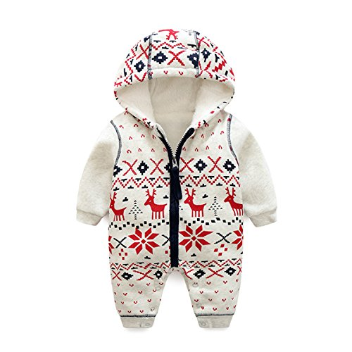 Bebone Baby Weihnachtspullover Jungen Strampler Mädchen Overall (6-9 Monate/66cm, Dick Gefüttert)