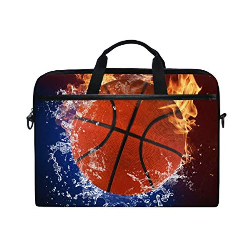 Moyyo Basketball in Fire and Water Laptop Bag Laptop Case with 3 Compartment Shoulder Strap Handle Canvas Computer Bag Personalised for Women Men Kids Girls Boys 15 inch