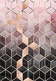 HJFGIRL Teppich-Moderne Mode Roségold Rosa Farbverlauf Geometrische Raute Gitter Teppiche Sehr Strapazierfähiger Teppich Für Wohnzimmer Schlafzimmer (Erhältlich in 10 Größen),80 * 160cm