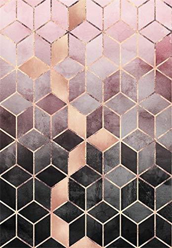 HJFGIRL Teppich-Moderne Mode Roségold Rosa Farbverlauf Geometrische Raute Gitter Teppiche Sehr Strapazierfähiger Teppich Für Wohnzimmer Schlafzimmer (Erhältlich in 10 Größen),160 * 230cm