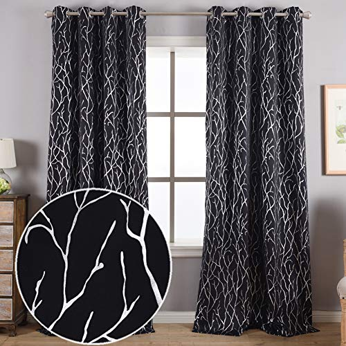 Kotile Blackout Tree Curtains for Living Room Silver Branch Tree Print Black Blackout Curtains 84 Inches Length Thermal Insulated Grommet Window Curtains Tree Pattern for Bedroom 52 x 84 Inch 2 Panels