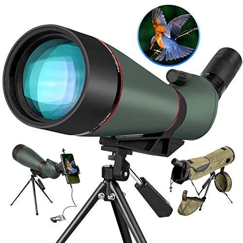 LAKWAR 25-75x100mm HD Telescopios Terrestres para observación de Aves, telescopio monocular Ocular en ángulo de 45 Grados con, Bolsa de Transporte y Soporte para teléfono para Caza