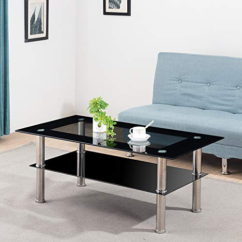 Volitation Glass Coffee Table Modern Chrome Lounge Table for Living Room Black & Clear (110cm x 60cm)