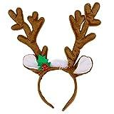 YeahiBaby Reno Cornamenta Diadema Pelo aro celada Reno Peluche Juguete para la Fiesta de Disfraces de Navidad