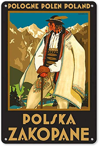 NOT Pologne Polen Polandpolska Zakopane Placa de Cartel de Chapa Vintage Retro Cartel de Advertencia de Pared de Hierro Decoración para Bar Cafe Shop Home Garage Office Hotel