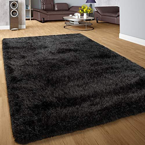 Paco Home Moderner Wohnzimmer Shaggy Hochflor Teppich Soft Garn In Uni Anthrazit, Grösse:80x150 cm