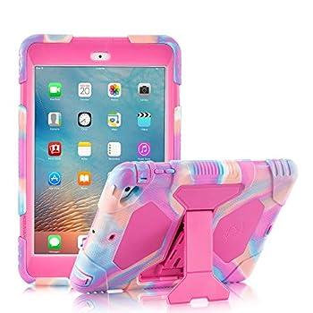 ACEGUARDER iPad Mini Case Full Body Protective Premium Soft Silicone Cover with Adjustable Kickstand for iPad Mini 1 2 3  PinkCamo/Rose