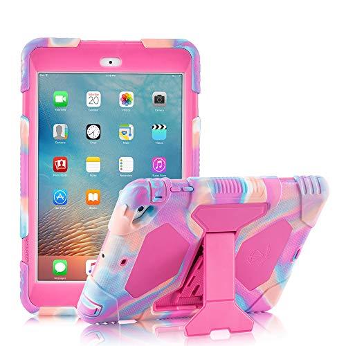 ACEGUARDER iPad Mini Case, Full Body Protective Premium Soft Silicone Cover with Adjustable Kickstand for iPad Mini 1 2 3 (PinkCamo/Rose)