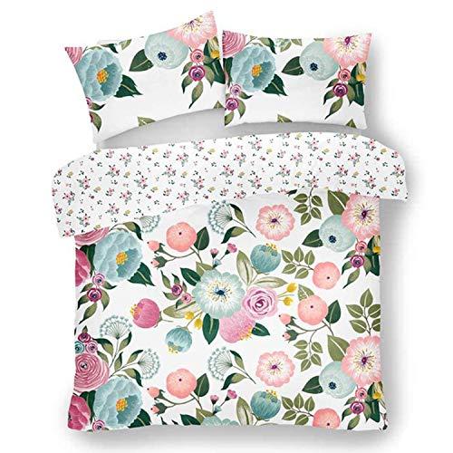 FAIRWAYUK Flair Floral Easy Care Duvet Cover Quilt Bedding Pillowcase Set Pink, King Size