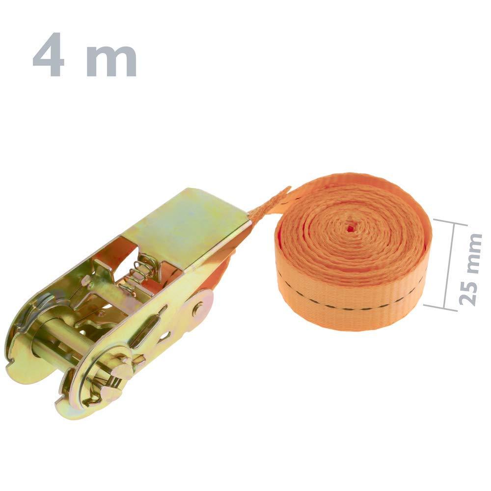 Correa de sujeci/ón con trinquete 25 mm x 2.5 m 800 kg Naranja Pack 4 PrimeMatik