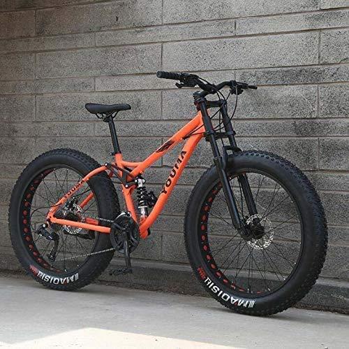 XHCP Bicicletas de montaña de 26 Pulgadas, Bicicleta de montaña para niños Adultos, Fat Tire Fat Bike, Bicicleta de Freno de Doble Disco, Freno de Disco mecánico, Naranja, 24 velocidades