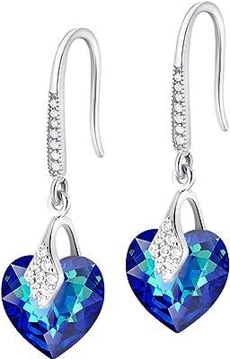 Crystals&Stones – Orecchini a forma di cuore in argento 925 – Bermuda Blue – Orecchini con cristalli Swarovski® – Bellissimi orecchini da donna – meravigliosi orecchini con scatola regalo