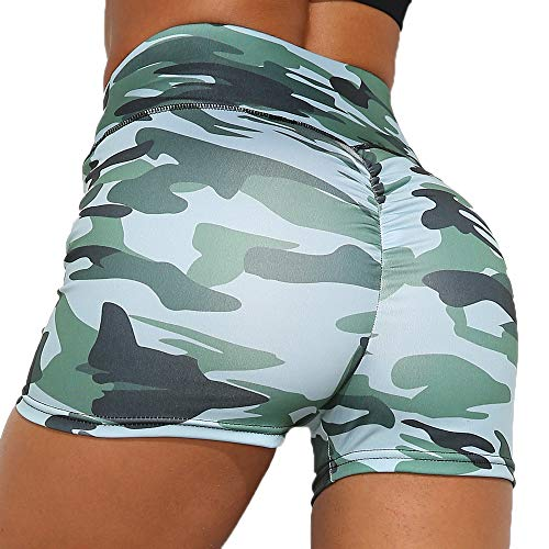 Camouflage Women Yoga Shorts Ruched Butt Sport Gym Scrunch Ruched Running Workout Fitness Active Butt Lifting Hot Shorts