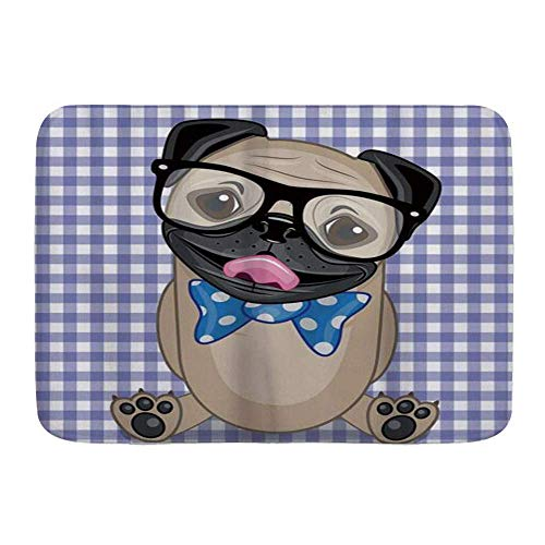 SUPERQIAO Bath Mat Rug,Nerdy Glasses and Dotted Bow Tie On A Puppy Pug with A Checkered Backdrop,Non-Slip Absorbent Ultra Soft Bathroom Decor Mats