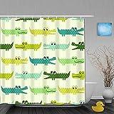 MEJX Duschvorhang,Krokodil-Cartoon,personalisierte Deko Badezimmer Vorhang,mit Haken,180 * 180