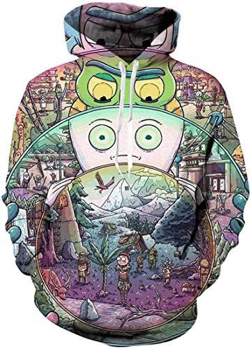 Chaos World Herren Kapuzenpullover Cartoon 3D Druck Grafisches Pullover Langarm Sweatshirt Mit Taschen(L,Spiegel)