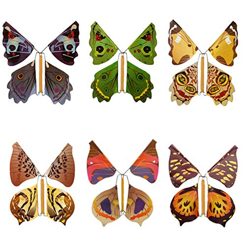 Magic Fairy Flying Butterfly Wind Up,butterfly Rubber Band Powered Wind Up Butterfly Toy,Great Surprise Wedding Birthday Gift,Butterfly In The Book Fairy Toy,Fairy Flying Butterfly Gift Card(1)Random