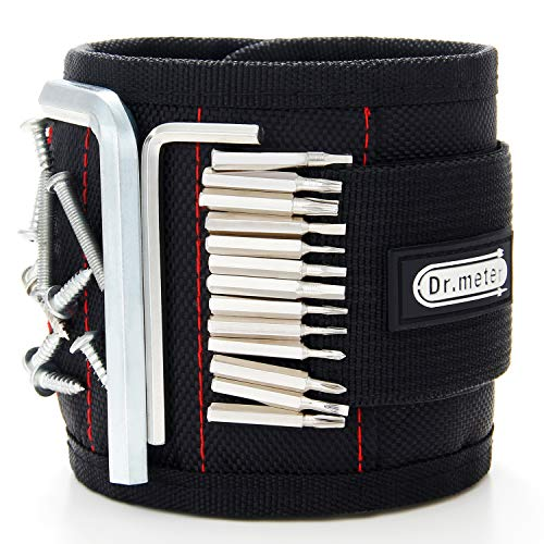 Magnetic Wristband, Dr.meter 18.9 Inch Length Adjustable Magnetic Wrist Bands Tool Belt with Super Strong 15 Magnets for Holding Screws, Nails, Drilling Bits, Father/Husband/Boyfriend/Men Gifts