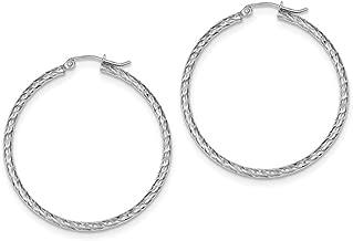 Sterling Silver 2mm x 40mm Hoop Earrings (39mm Approximate Length)