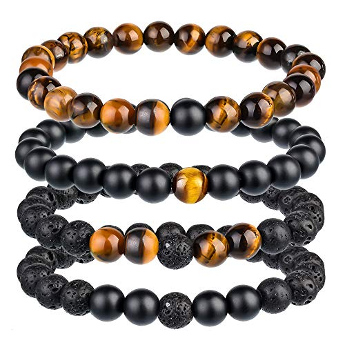 Souarts - Set di braccialetti per coppia, con pietre naturali, cordino elasticizzato, idea regalo per Natale, compleanno, gioielli fantasia, colore: Marron 4pcs