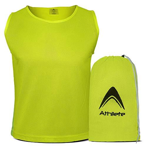 Athllete - Juego de 12 camisetas para entrenamientos, bolsa incluida-, Medium, Amarillo Neón