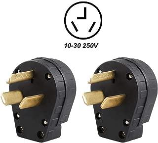 2Pack Nema 10-30 3-Prong Angle Plug Cooper Welder LK3331 AC 125V 250V for Electric Dryer, EV Tesla RV & Generator Replacement Power Adapter (2Pack 10-30P Plug)