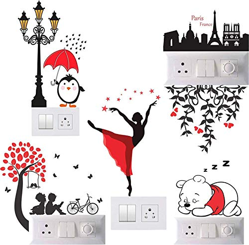 ARCHI GRAPHICS STUDIO Decorative Switch Penal/Board Sticker of Dencing Lady Branch peric Love Bear Love Couple Under Tree with Cycle Penguin lamp for (PVC Vinyl Multicolor)