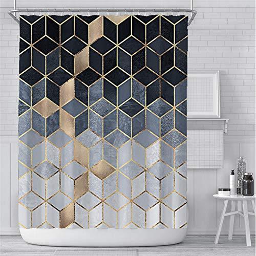 Allmählich schwarzer geometrischer Duschvorhang mit 12 Vorhangringen, grau-braun, einfach, modernes, wasserdichtes Badezimmerdekor aus Polyester, 12 Haken, farbecht, wasserdicht, 180 * 180 cm