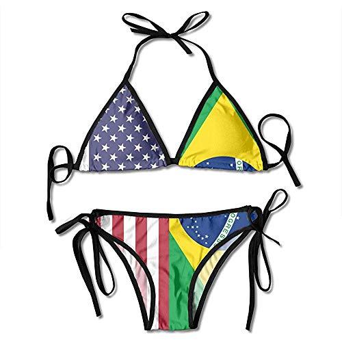 Novelcustom Bikini Set,Amerikanische Brasilien Flagge Bikini Set Verstellbare Halter Sexy Womens Badeanzüge Bademode Zum Schwimmen