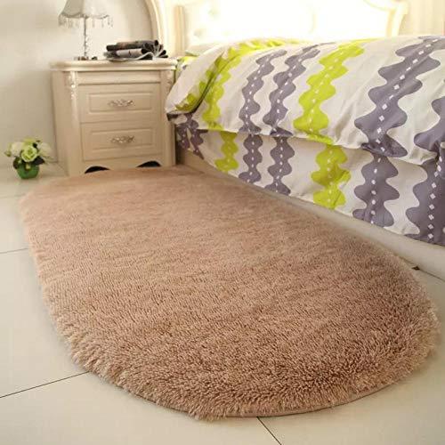 Solid Color Oval Washable Floor Mats for Home Living Room Rug Bedroom Bed Front Blanket Coffee Table Blanket-Light Camel